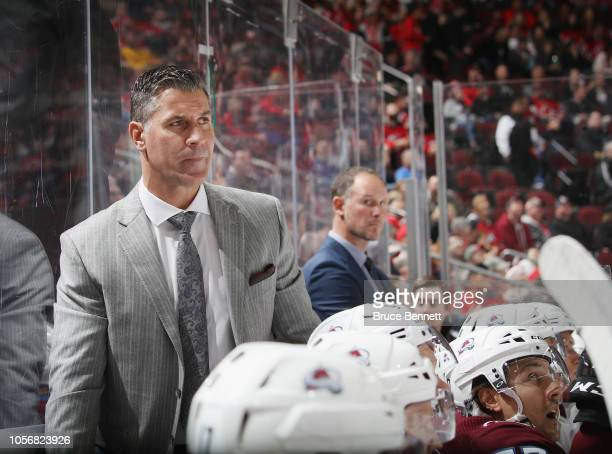 Head Coach Jared Bednar of the Colorado Avalanche works the game against the New Jersey Devils at the Prudential Center on October 18 2018 in Newark...
