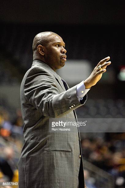Head coach Jaren Jackson of the Fort Wayne Mad Ants looks on during the DLeague game against the Anaheim Arsenal at Allen County Memorial Coliseum on...