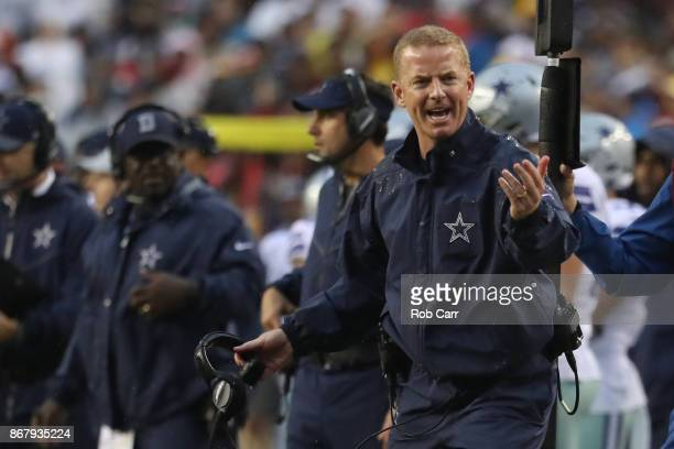 Head coach Jason Garrett of the Dallas Cowboys argues a call against the Washington Redskins during the second quarter at FedEx Field on October 29...