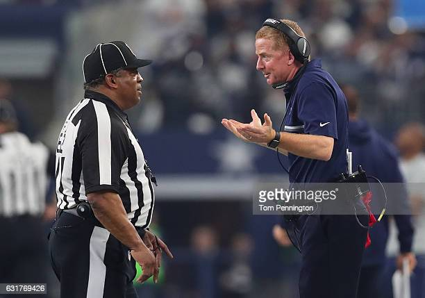 Head coach Jason Garrett of the Dallas Cowboys argues a call during the second quarter against the Green Bay Packers in the NFC Divisional Playoff...