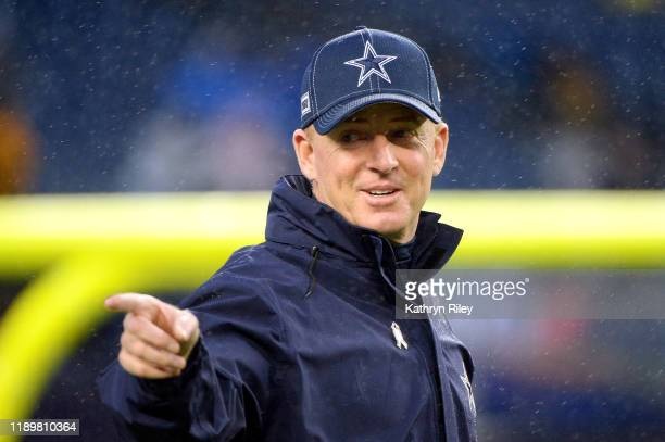 Head coach Jason Garrett of the Dallas Cowboys gestures before the game against the New England Patriots at Gillette Stadium on November 24 2019 in...
