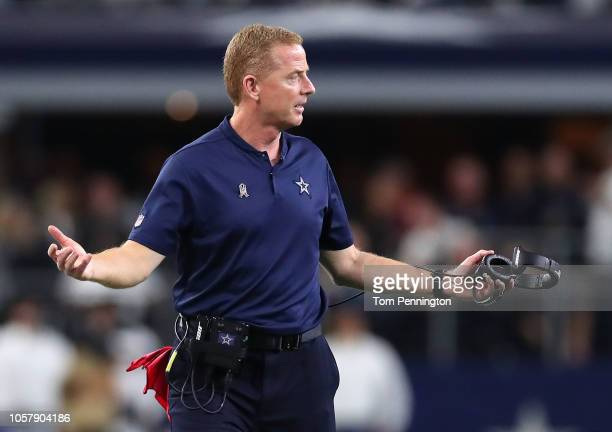 Head coach Jason Garrett of the Dallas Cowboys gestures in the fourth quarter of a game against the Tennessee Titans at ATT Stadium on November 5...