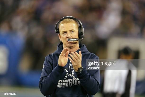 Head Coach Jason Garrett of the Dallas Cowboys is satisfied with a call against the New York Giants in the second half at MetLife Stadium on November...