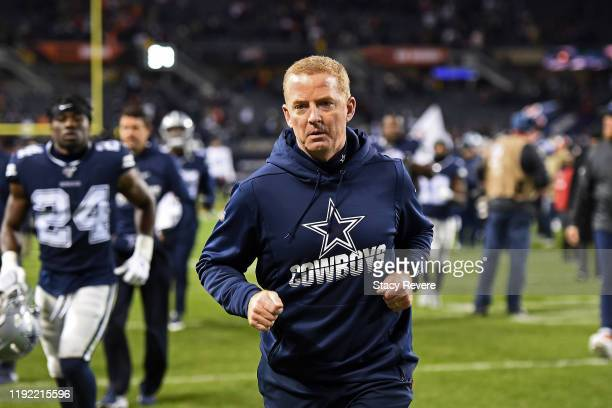 Head coach Jason Garrett of the Dallas Cowboys leaves the field following a game against the Chicago Bears at Soldier Field on December 05, 2019 in...