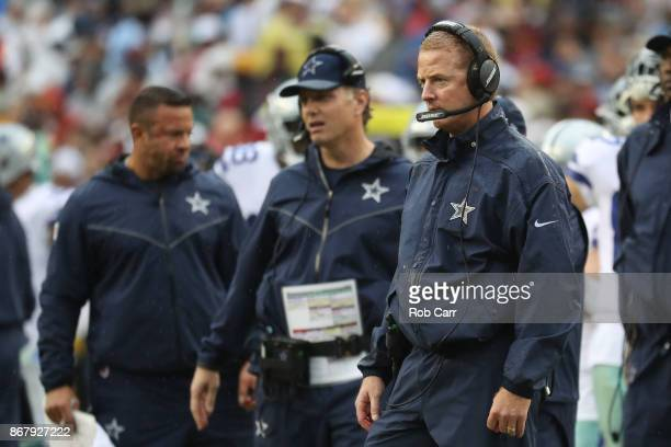 Head coach Jason Garrett of the Dallas Cowboys looks on against the Washington Redskins during the first quarter at FedEx Field on October 29 2017 in...