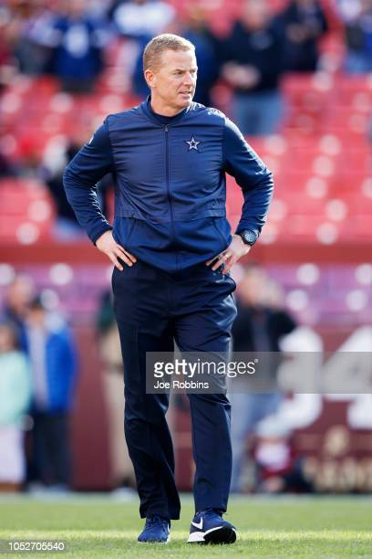 Head coach Jason Garrett of the Dallas Cowboys looks on before the game against the Washington Redskins at FedExField on October 21 2018 in Landover...