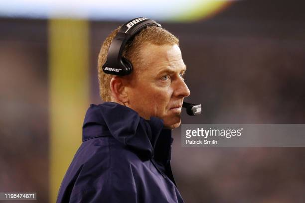 Head coach Jason Garrett of the Dallas Cowboys looks on during the first half against the Philadelphia Eagles in the game at Lincoln Financial Field...