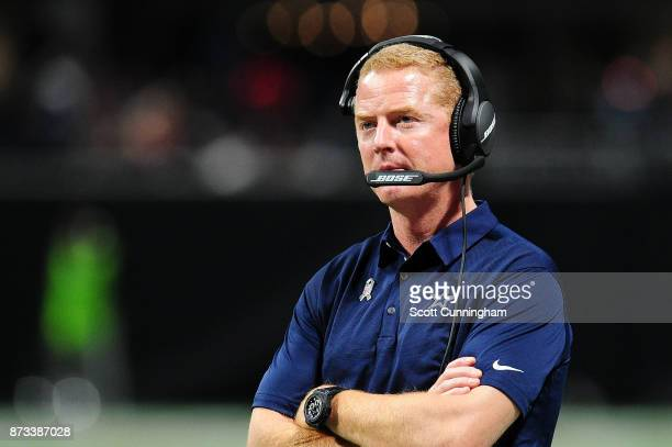 Head coach Jason Garrett of the Dallas Cowboys looks on during the second half against the Atlanta Falcons at MercedesBenz Stadium on November 12...