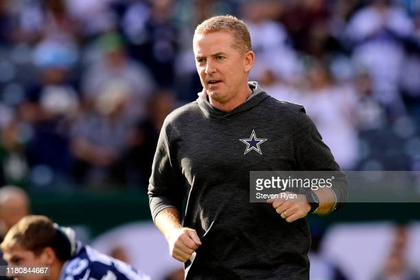 Head coach Jason Garrett of the Dallas Cowboys looks on during warm ups prior to the game against the New York Jets at MetLife Stadium on October 13,...