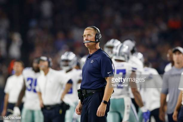 Head coach Jason Garrett of the Dallas Cowboys looks on from the sideline in the second quarter against the Houston Texans at NRG Stadium on October...
