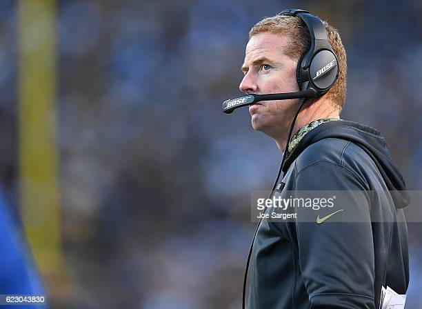 Head Coach Jason Garrett of the Dallas Cowboys looks on from the sidelines in the first quarter during the game against the Pittsburgh Steelers at...
