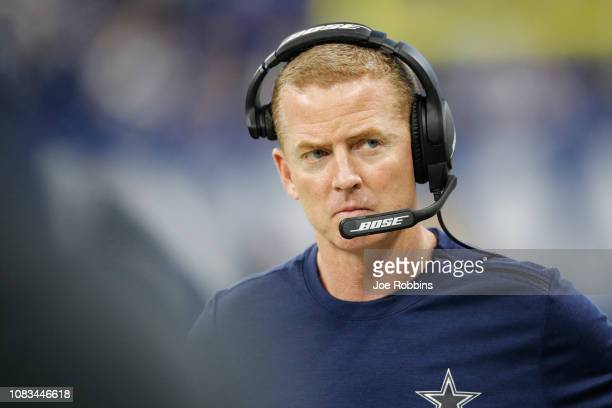 Head coach Jason Garrett of the Dallas Cowboys on the side line in the game against the Indianapolis Colts in the fourth quarter at Lucas Oil Stadium...