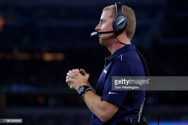 Head coach Jason Garrett of the Dallas Cowboys reacts in the fourth quarter as the Dallas Cowboys take on the Washington Redskins at ATT Stadium on...