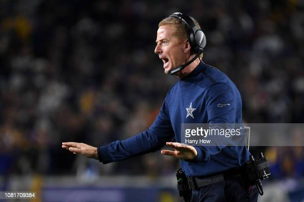 Head coach Jason Garrett of the Dallas Cowboys reacts in the third quarter against the Los Angeles Rams in the NFC Divisional Playoff game at Los...