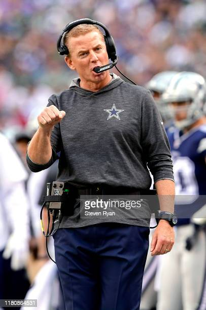 Head coach Jason Garrett of the Dallas Cowboys reacts to a call against the New York Jets during the first quarter at MetLife Stadium on October 13...