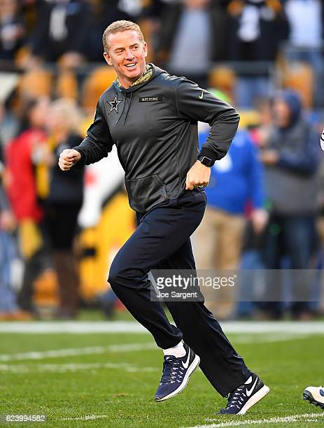 Head coach Jason Garrett of the Dallas Cowboys runs onto the field during the game against the Pittsburgh Steelers at Heinz Field on November 13 2016...