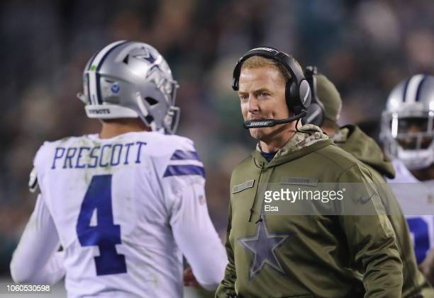 Head coach Jason Garrett of the Dallas Cowboys smles after quarterback Dak Prescott of the Dallas Cowboys scored a touchdown against the Philadelphia...