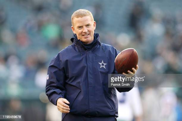 Head coach Jason Garrett of the Dallas Cowboys stands on the field before the game against the Philadelphia Eagles at Lincoln Financial Field on...