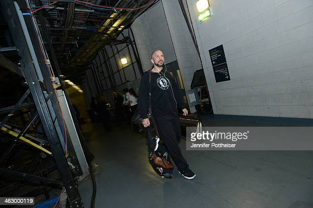 Head Coach Jason Kidd of the Brooklyn Nets arrives for the game against the Atlanta Hawks as part of the 2014 Global Games on January 16 2014 at The...