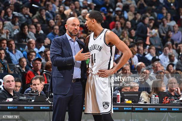 Head Coach Jason Kidd of the Brooklyn Nets gives direction to Shaun Livingston against the Toronto Raptors on March 10 2014 at the Barclays Center in...