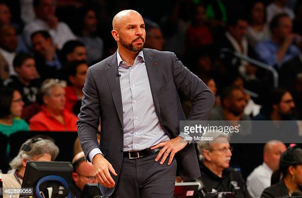 Head coach Jason Kidd of the Brooklyn Nets looks on against the Miami Heat at Barclays Center on January 10 2014 in the Brooklyn borough of New York...