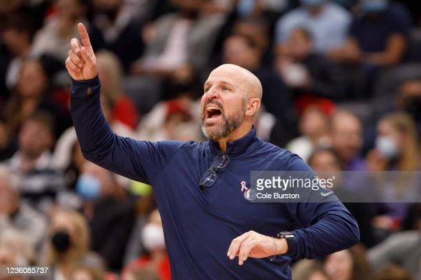 Head coach Jason Kidd of the Dallas Mavericks calls out to his players during the second half of their NBA game against the Toronto Raptors at...