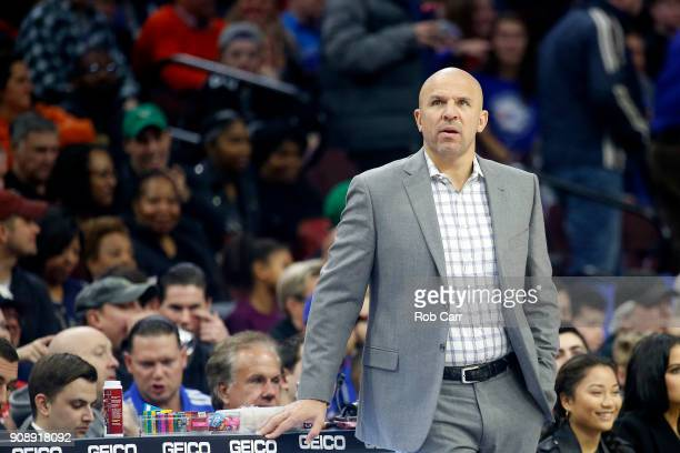 Head coach Jason Kidd of the Milwaukee Bucks looks on against the Philadelphia 76ers in the first half at Wells Fargo Center on January 20 2018 in...