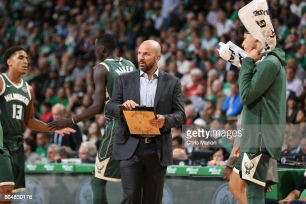 Head Coach Jason Kidd of the Milwaukee Bucks looks on during the game against the Boston Celtics on October 18 2017 at the TD Garden in Boston...