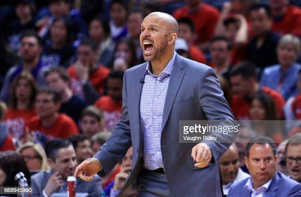 Head Coach Jason Kidd of the Milwaukee Bucks reacts in the second half of Game One of the Eastern Conference Quarterfinals against the Toronto...