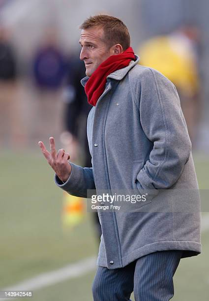 Head coach Jason Kreis of Real Salt Lake calls a play during a game against the New Engeland Revolution during the first half of an MLS soccer game...