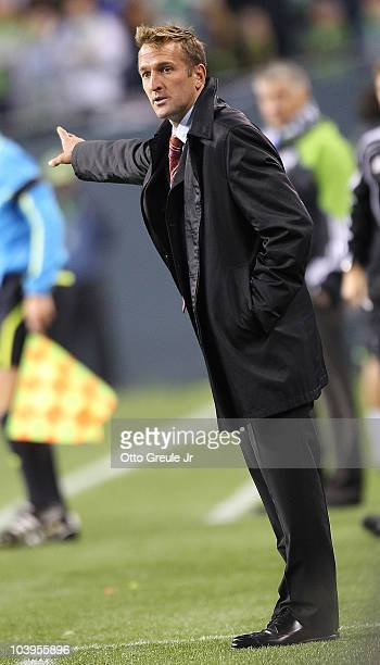 Head coach Jason Kreis of Real Salt Lake gestures during the game against the Seattle Sounders FC on September 9 2010 at Qwest Field in Seattle...