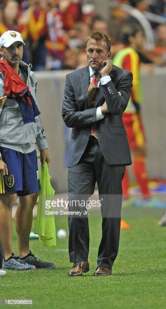 Head coach Jason Kreis of Real Salt Lake paces the sidelines during the 2013 US Open Cup Final against DC United at Rio Tinto Stadium October 1 2013...