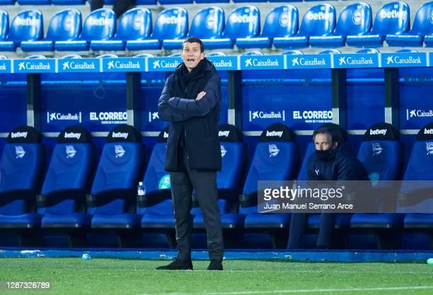 Head coach Javi Garcia of Valencia CF reacts during the LaLiga Santander match between Alaves and Valencia on November 22 2020 in VitoriaGasteiz Spain