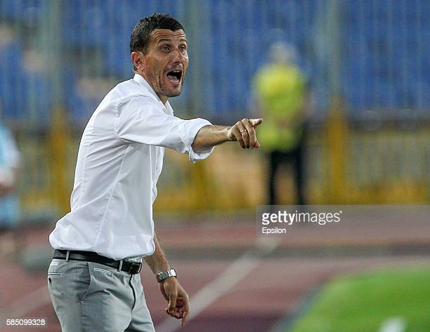 Head coach Javi Gracia of FC Rubin Kazan gestures during the Russian Premier League match between FC Rubin Kazan and FC Amkar Perm at the Tsentralny...