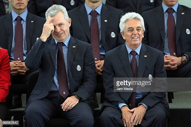 Head coach Javier Aguirre and president of FEMEXFUT Justino Compean , during the flag raising ceremony of the Mexico National Soccer Team at the...