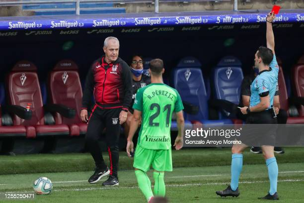 Head Coach Javier Aguirre of CD Leganes is shown a red car by the referee Eduardo Prieto Iglesias during the Liga match between SD Eibar SAD and CD...