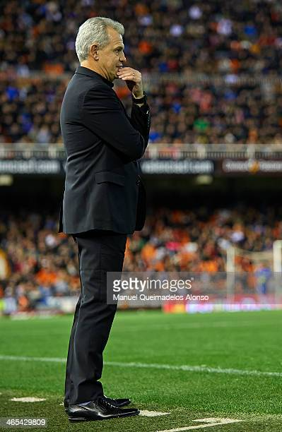Head coach Javier Aguirre of Espanyol looks on during the La Liga match between Valencia CF and RCD Espanyol at Estadio Mestalla on January 25 2014...