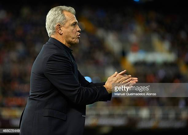 Head coach Javier Aguirre of Espanyol reacts during the La Liga match between Valencia CF and RCD Espanyol at Estadio Mestalla on January 25 2014 in...
