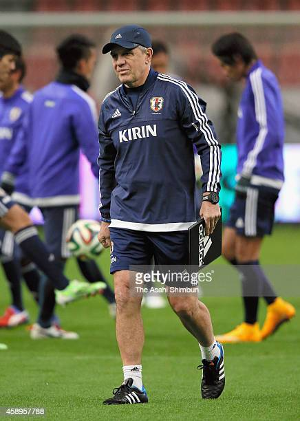 Head coach Javier Aguirre of Japan looks on during a training session ahead of the international friendly against Honduras at Toyota Stadium on...
