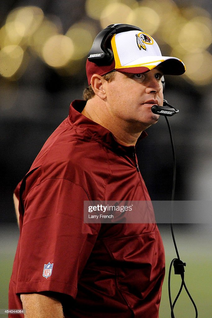 Head coach Jay Gruden of the Washington Redskins looks on during a preseason game against the Baltimore Ravens at M&T Bank Stadium on August 23, 2014 in Baltimore, Maryland.