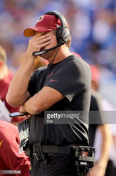 Head coach Jay Gruden of the Washington Redskins reacts in the fourth quarter against the New York Giants at MetLife Stadium on September 29, 2019 in...