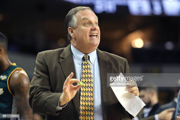 Head coach Jay Ladner of the Southeastern Louisiana Lions yells to his players during a NCAA basketball game against the UCF Knights at the CFE Arena...
