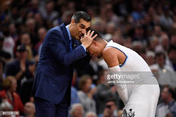 Head coach Jay Wright celebrates with Jalen Brunson of the Villanova Wildcats during the second half of the 2018 NCAA Photos via Getty Images Men's...