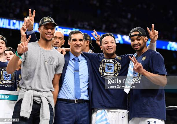 Head coach Jay Wright Jalen Brunson and Phil Booth of the Villanova Wildcats celebrate after the 2018 NCAA Photos via Getty Images Men's Final Four...