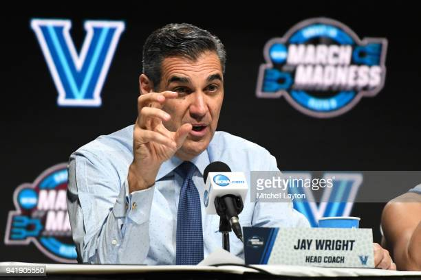 Head coach Jay Wright of the Villanova Wildcats addresses the media after the 2018 NCAA Men's Basketball Tournament East Regional against the West...
