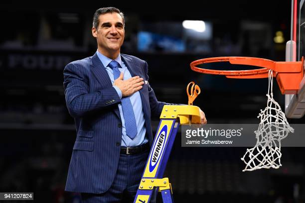 Head coach Jay Wright of the Villanova Wildcats celebrates after the 2018 NCAA Photos via Getty Images Men's Final Four National Championship game...