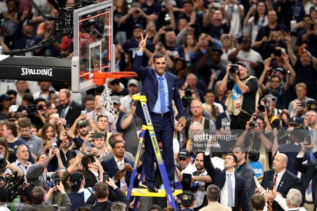 Head coach Jay Wright of the Villanova Wildcats celebrates after the 2018 NCAA Men's Final Four National Championship game against the Michigan Wolverines at the Alamodome on April 2, 2018 in San Antonio, Texas.