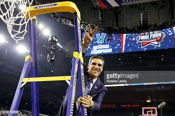 Head coach Jay Wright of the Villanova Wildcats celebrates defeating the North Carolina Tar Heels 7774 to win the 2016 NCAA Men's Final Four National...