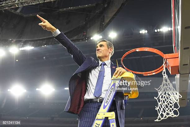 Head coach Jay Wright of the Villanova Wildcats celebrates winning after the NCAA College Basketball Tournament Championship game against the North...