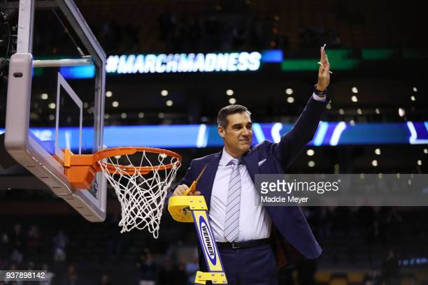 Head coach Jay Wright of the Villanova Wildcats cuts down the net after defeating the Texas Tech Red Raiders 7159 in the 2018 NCAA Men's Basketball...